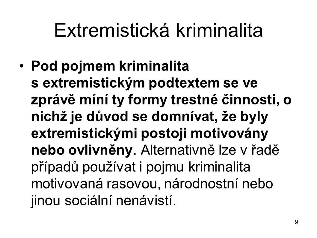 9 Extremistická kriminalita Pod pojmem kriminalita s extremistickým podtextem se ve zprávě míní ty formy trestné činnosti, o nichž je důvod se domníva