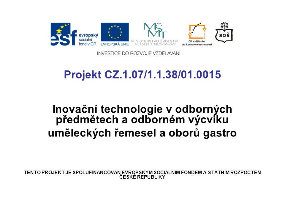 Projekt CZ.1.07/1.1.38/01.0015 Inovační technologie v odborných předmětech a odborném výcviku uměleckých řemesel a oborů gastro TENTO PROJEKT JE SPOLUFINANCOVÁN EVROPSKÝM SOCIÁLNÍM FONDEM A STÁTNÍM ROZPOČTEM ČESKÉ REPUBLIKY