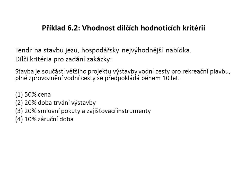 Příklad 6.2: Vhodnost dílčích hodnotících kritérií Tendr na stavbu jezu, hospodářsky nejvýhodnější nabídka. Dílčí kritéria pro zadání zakázky: Stavba