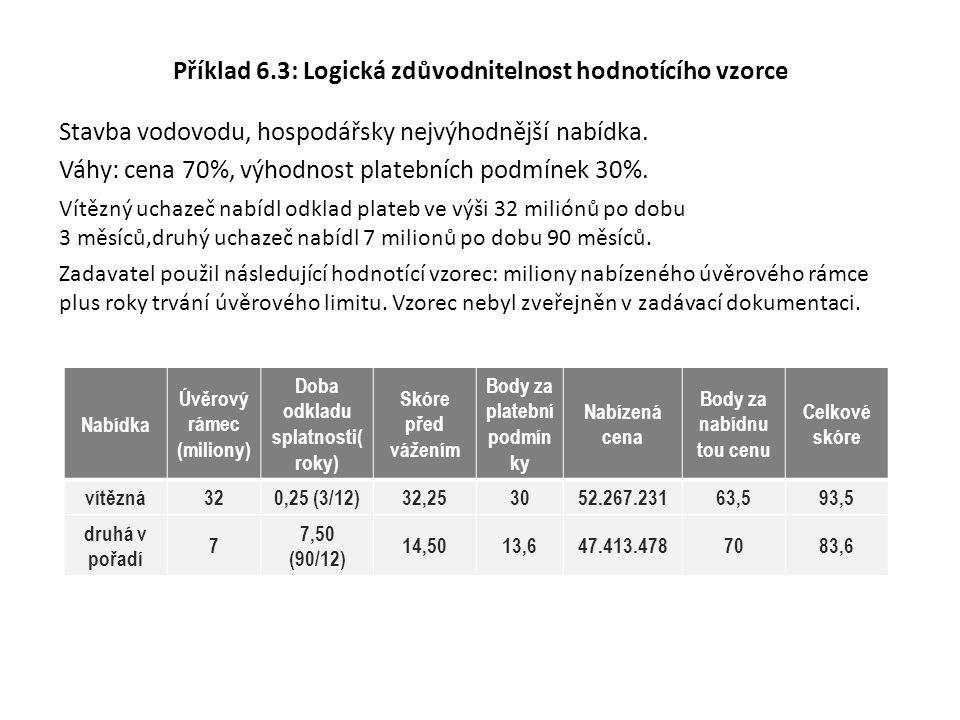 Příklad 6.3: Logická zdůvodnitelnost hodnotícího vzorce Stavba vodovodu, hospodářsky nejvýhodnější nabídka. Váhy: cena 70%, výhodnost platebních podmí