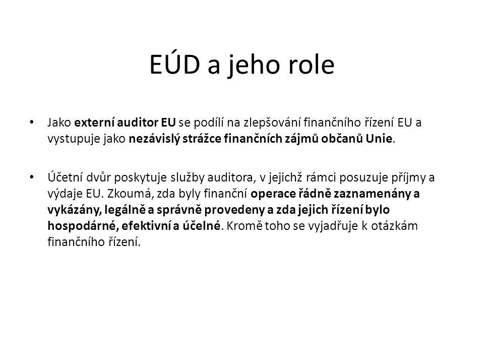 EÚD a jeho role Jako externí auditor EU se podílí na zlepšování finančního řízení EU a vystupuje jako nezávislý strážce finančních zájmů občanů Unie.