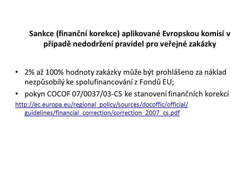 Sankce (finanční korekce) aplikované Evropskou komisí v případě nedodržení pravidel pro veřejné zakázky 2% až 100% hodnoty zakázky může být prohlášeno