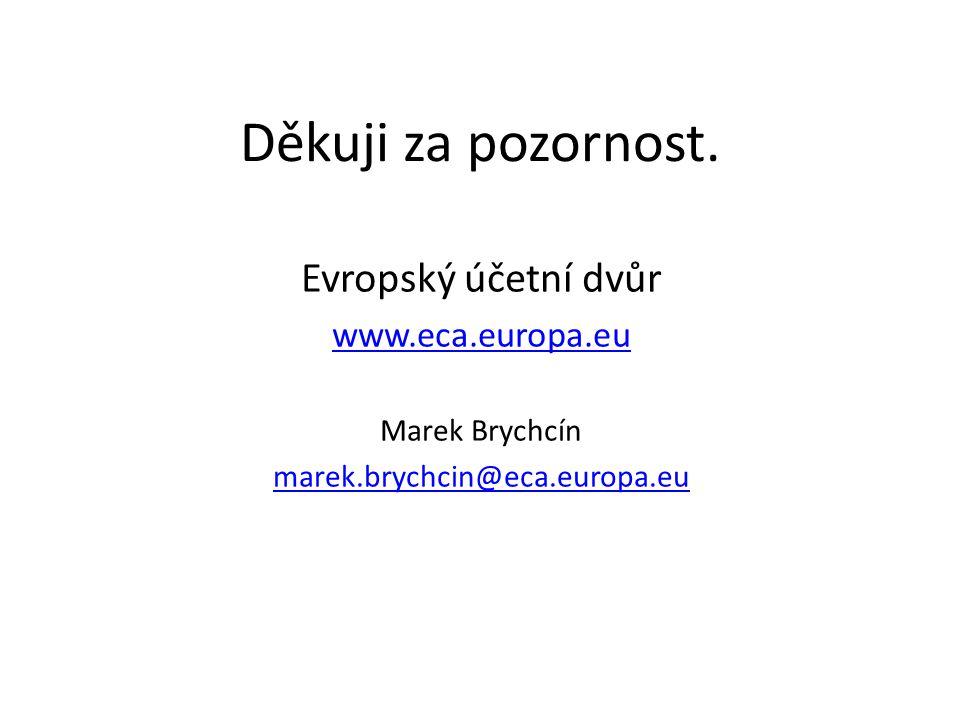 Děkuji za pozornost. Evropský účetní dvůr www.eca.europa.eu Marek Brychcín marek.brychcin@eca.europa.eu