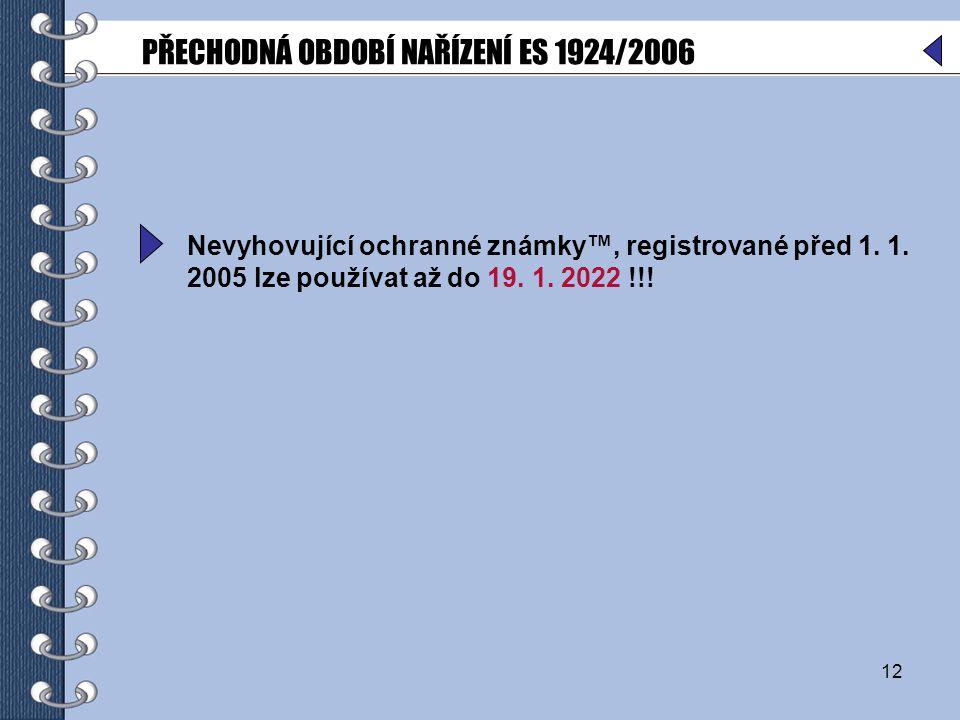 12 Nevyhovující ochranné známky™, registrované před 1.