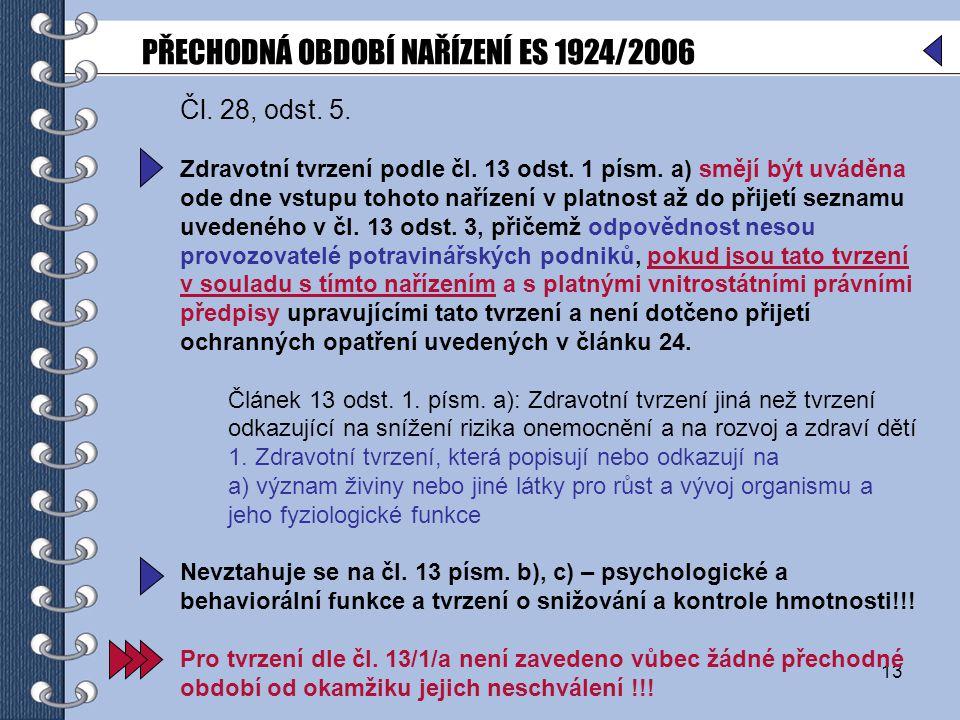 13 Čl.28, odst. 5. Zdravotní tvrzení podle čl. 13 odst.