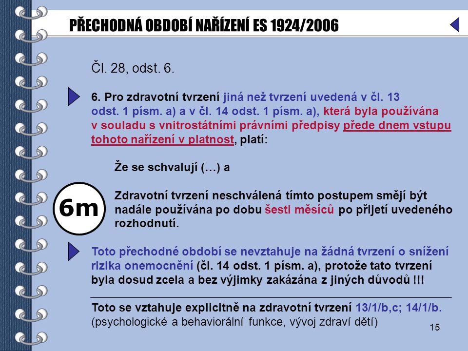 15 Čl.28, odst. 6. 6. Pro zdravotní tvrzení jiná než tvrzení uvedená v čl.