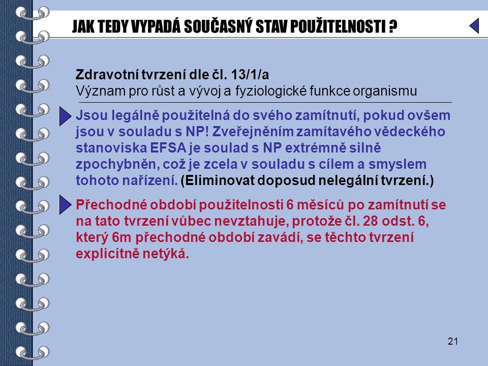 21 Zdravotní tvrzení dle čl.
