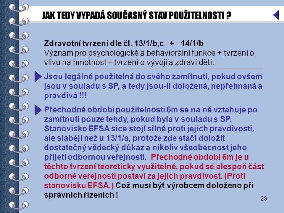 23 Zdravotní tvrzení dle čl.