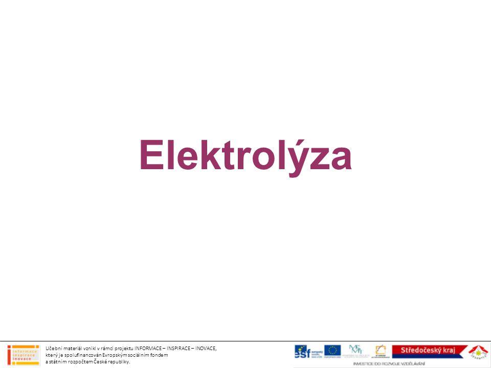 Elektrolýza Učební materiál vznikl v rámci projektu INFORMACE – INSPIRACE – INOVACE, který je spolufinancován Evropským sociálním fondem a státním roz