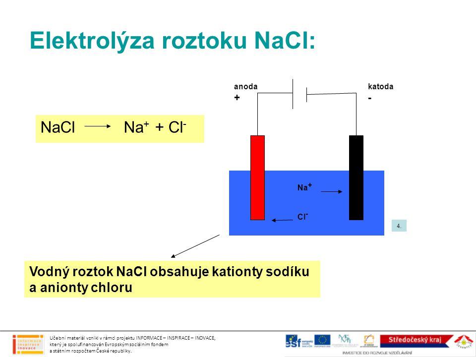 Elektrolýza roztoku NaCl: NaCl Na + + Cl - Vodný roztok NaCl obsahuje kationty sodíku a anionty chloru Na + Cl - anoda + katoda - Učební materiál vzni