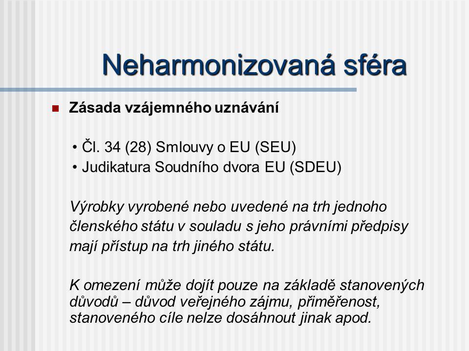 Neharmonizovaná sféra Zásada vzájemného uznávání Čl. 34 (28) Smlouvy o EU (SEU) Judikatura Soudního dvora EU (SDEU) Výrobky vyrobené nebo uvedené na t
