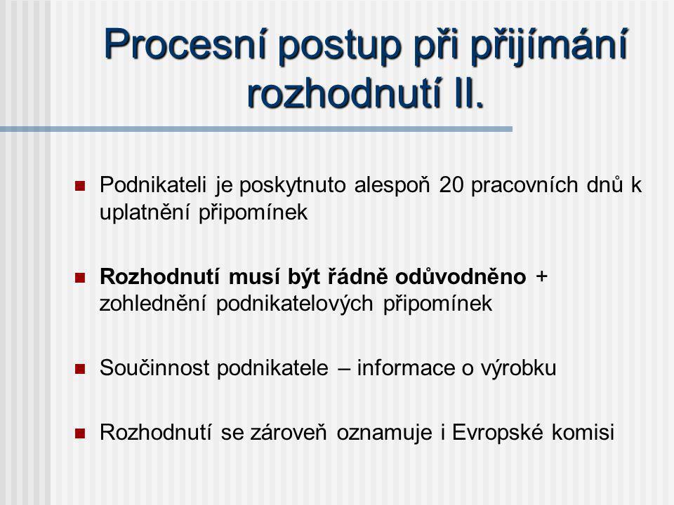 Procesní postup při přijímání rozhodnutí II.