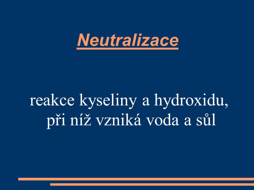Neutralizace reakce kyseliny a hydroxidu, při níž vzniká voda a sůl