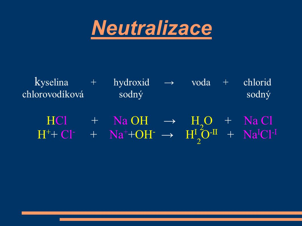 k yselina + hydroxid → voda + chlorid chlorovodíková sodný sodný HCl + Na OH → H 2 O + Na Cl H + + Cl - + Na + +OH - → H I 2 O -II + Na I Cl -I Neutralizace