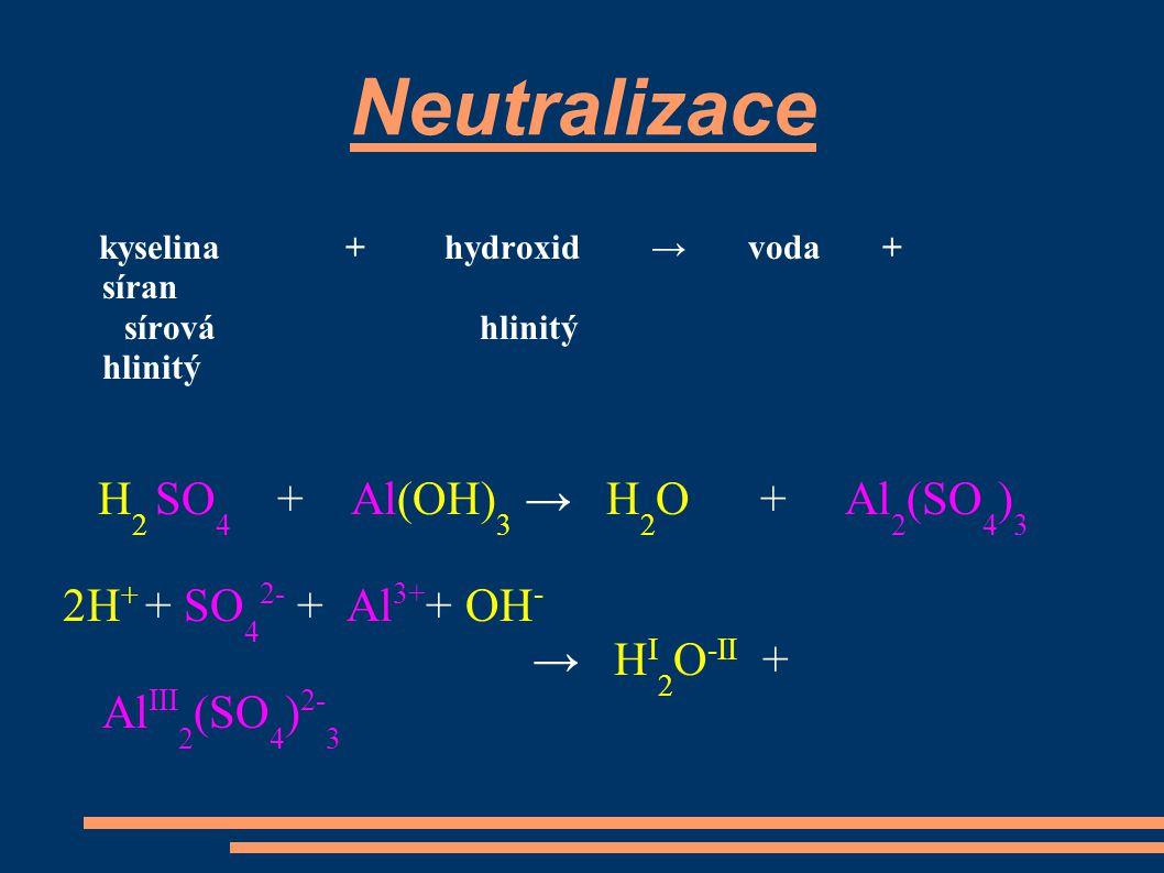 kyselina + hydroxid → voda + síran sírová hlinitý hlinitý H 2 SO 4 + Al(OH) 3 → H 2 O + Al 2 (SO 4 ) 3 2H + + SO 4 2- + Al 3+ + OH - → H I 2 O -II + Al III 2 (SO 4 ) 2- 3