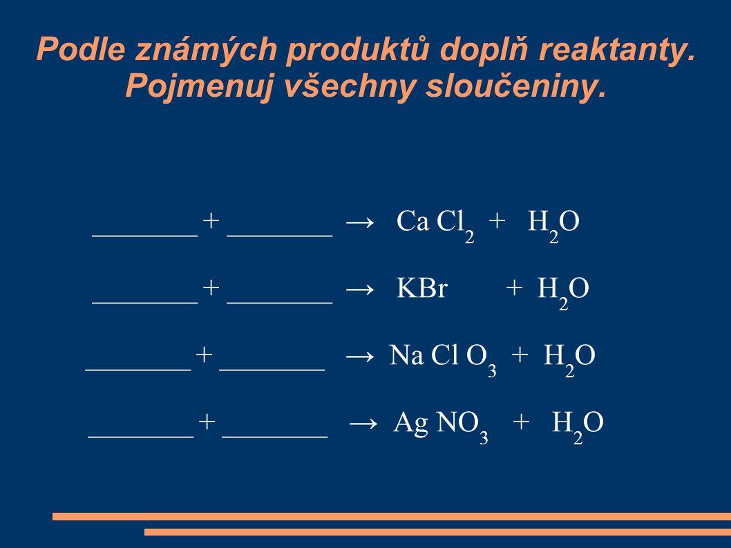 Podle známých produktů doplň reaktanty. Pojmenuj všechny sloučeniny. _______ + _______ → Ca Cl 2 + H 2 O _______ + _______ → KBr + H 2 O _______ + ___