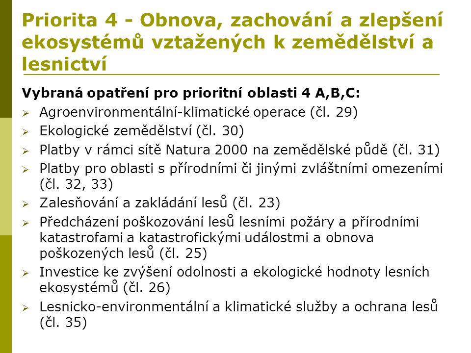 Priorita 4 - Obnova, zachování a zlepšení ekosystémů vztažených k zemědělství a lesnictví Vybraná opatření pro prioritní oblasti 4 A,B,C:  Agroenviro