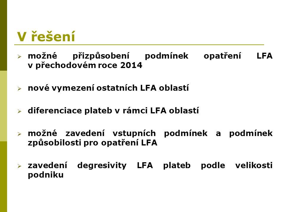 V řešení  možné přizpůsobení podmínek opatření LFA v přechodovém roce 2014  nové vymezení ostatních LFA oblastí  diferenciace plateb v rámci LFA ob