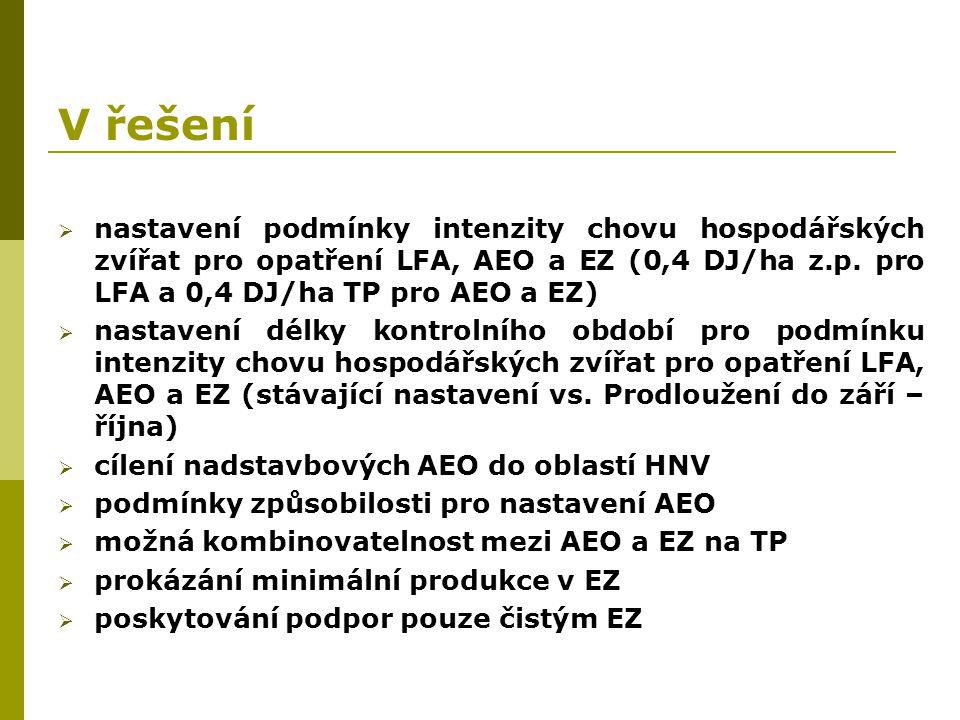V řešení  nastavení podmínky intenzity chovu hospodářských zvířat pro opatření LFA, AEO a EZ (0,4 DJ/ha z.p. pro LFA a 0,4 DJ/ha TP pro AEO a EZ)  n