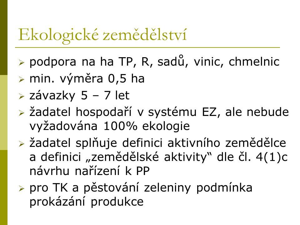 Ekologické zemědělství  podpora na ha TP, R, sadů, vinic, chmelnic  min. výměra 0,5 ha  závazky 5 – 7 let  žadatel hospodaří v systému EZ, ale neb