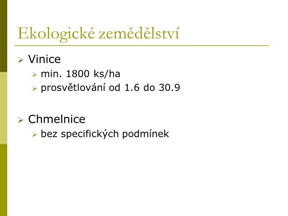 Ekologické zemědělství  Vinice  min. 1800 ks/ha  prosvětlování od 1.6 do 30.9  Chmelnice  bez specifických podmínek