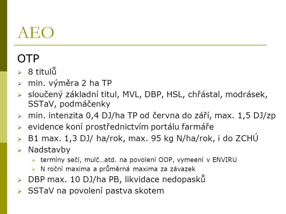 AEO OTP  8 titulů  min. výměra 2 ha TP  sloučený základní titul, MVL, DBP, HSL, chřástal, modrásek, SSTaV, podmáčenky  min. intenzita 0,4 DJ/ha TP