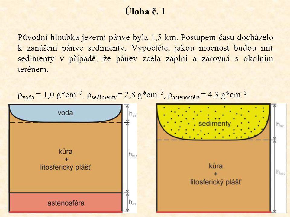 12 Úloha č. 1 Původní hloubka jezerní pánve byla 1,5 km.