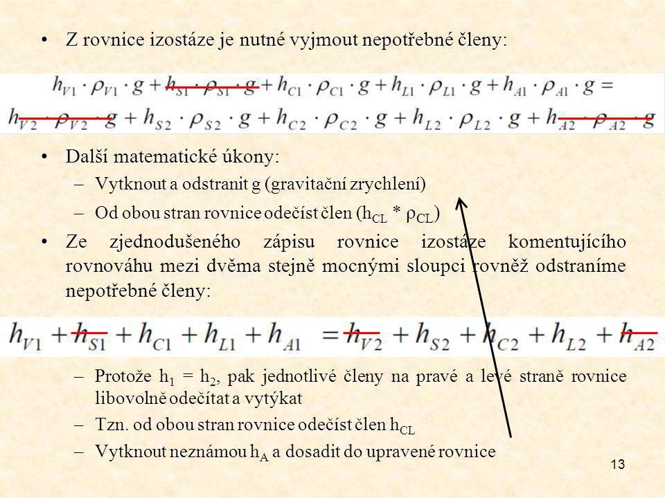 13 Z rovnice izostáze je nutné vyjmout nepotřebné členy: Další matematické úkony: –Vytknout a odstranit g (gravitační zrychlení) –Od obou stran rovnice odečíst člen (h CL * ρ CL ) Ze zjednodušeného zápisu rovnice izostáze komentujícího rovnováhu mezi dvěma stejně mocnými sloupci rovněž odstraníme nepotřebné členy: –Protože h 1 = h 2, pak jednotlivé členy na pravé a levé straně rovnice libovolně odečítat a vytýkat –Tzn.