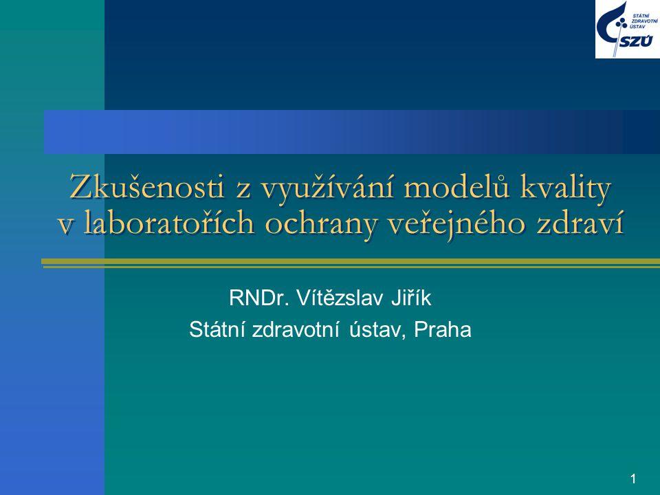 1 Zkušenosti z využívání modelů kvality v laboratořích ochrany veřejného zdraví RNDr. Vítězslav Jiřík Státní zdravotní ústav, Praha
