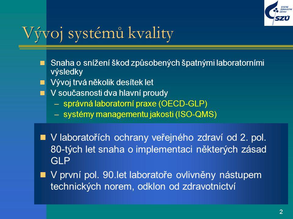 2 Vývoj systémů kvality Snaha o snížení škod způsobených špatnými laboratorními výsledky Vývoj trvá několik desítek let V současnosti dva hlavní proud