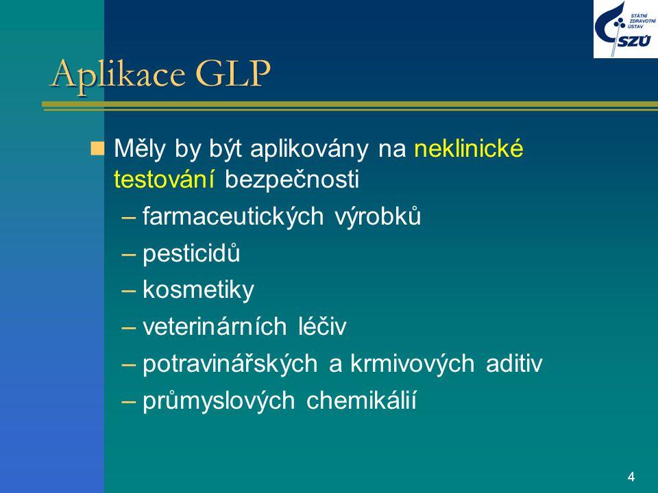 4 Aplikace GLP Měly by být aplikovány na neklinické testování bezpečnosti –farmaceutických výrobků –pesticidů –kosmetiky –veterinárních léčiv –potravi