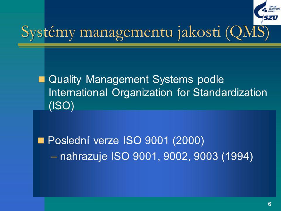 6 Systémy managementu jakosti (QMS) Quality Management Systems podle International Organization for Standardization (ISO) Poslední verze ISO 9001 (200