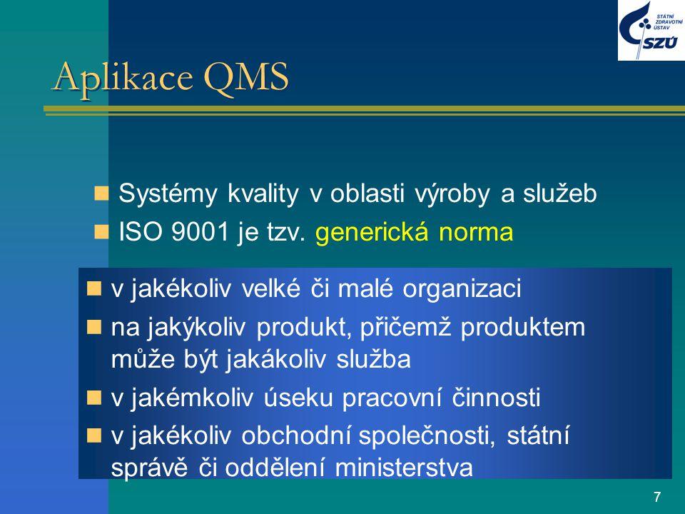 7 Aplikace QMS Systémy kvality v oblasti výroby a služeb ISO 9001 je tzv. generická norma v jakékoliv velké či malé organizaci na jakýkoliv produkt, p