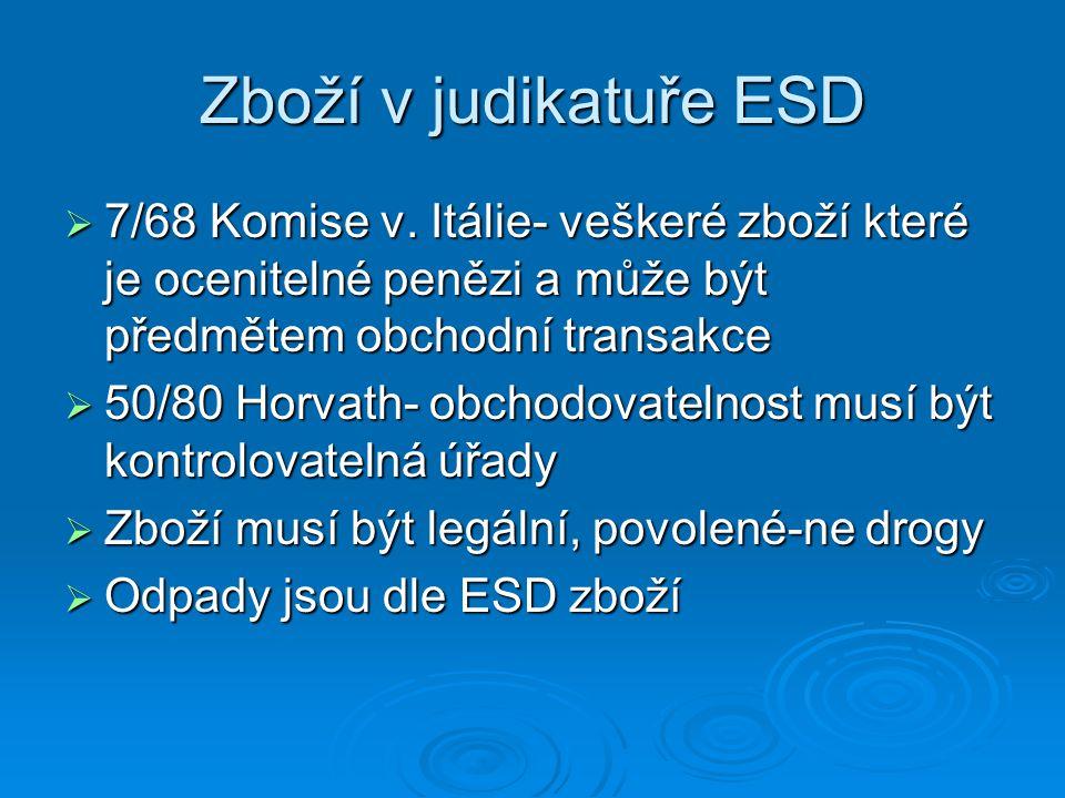 Zboží v judikatuře ESD  7/68 Komise v. Itálie- veškeré zboží které je ocenitelné penězi a může být předmětem obchodní transakce  50/80 Horvath- obch