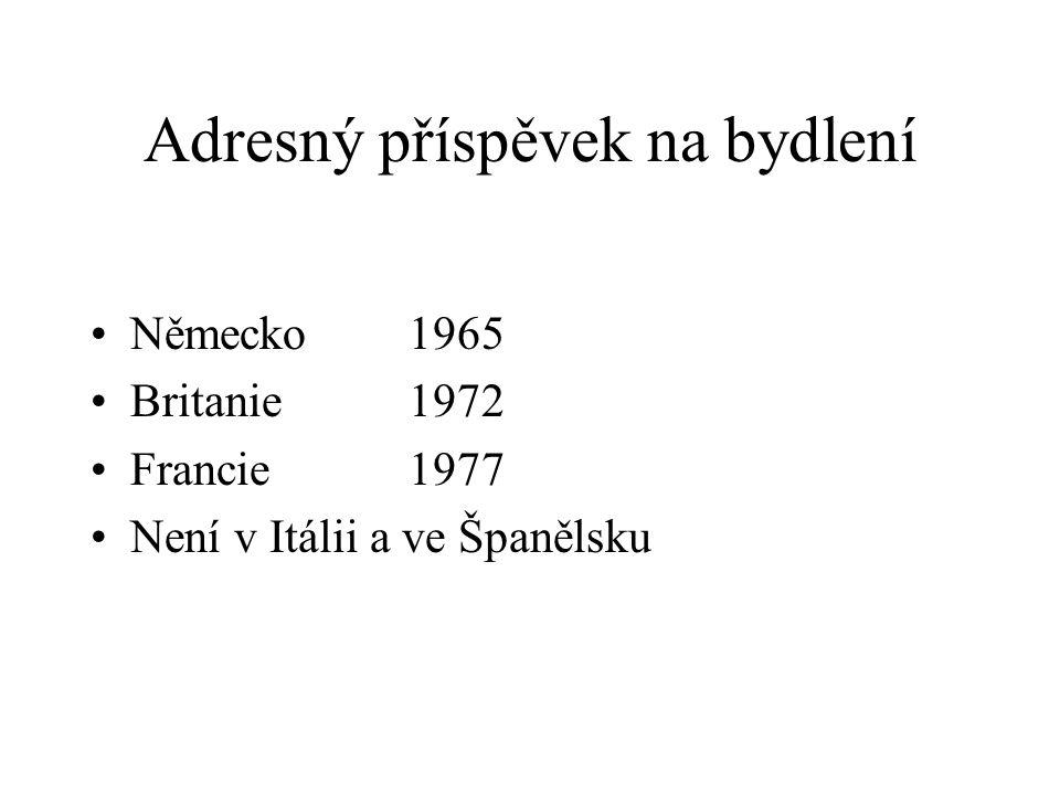 Adresný příspěvek na bydlení Německo 1965 Britanie 1972 Francie 1977 Není v Itálii a ve Španělsku