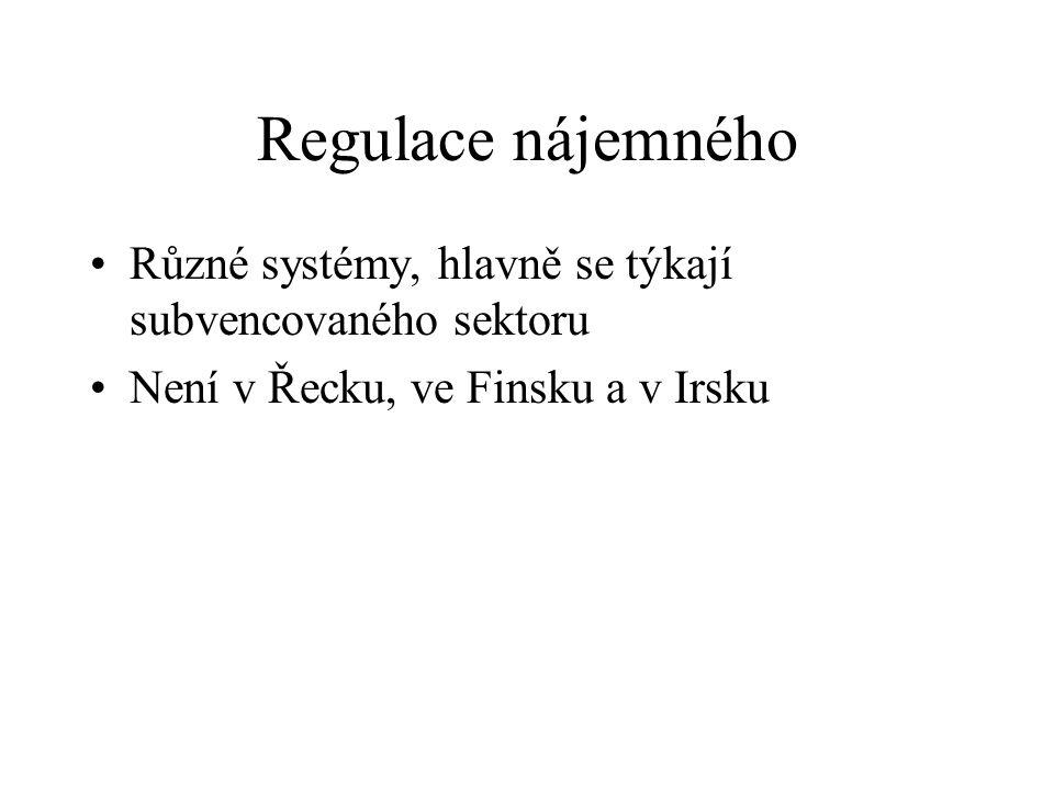 Regulace nájemného Různé systémy, hlavně se týkají subvencovaného sektoru Není v Řecku, ve Finsku a v Irsku