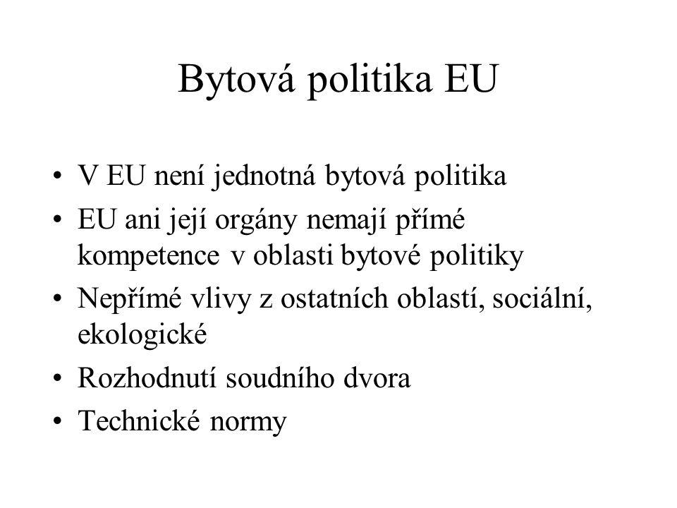 Bytová politika EU V EU není jednotná bytová politika EU ani její orgány nemají přímé kompetence v oblasti bytové politiky Nepřímé vlivy z ostatních oblastí, sociální, ekologické Rozhodnutí soudního dvora Technické normy