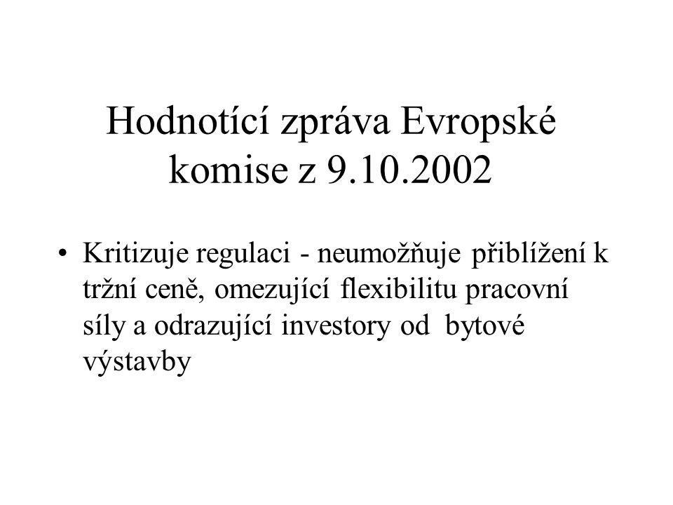 Hodnotící zpráva Evropské komise z 9.10.2002 Kritizuje regulaci - neumožňuje přiblížení k tržní ceně, omezující flexibilitu pracovní síly a odrazující investory od bytové výstavby