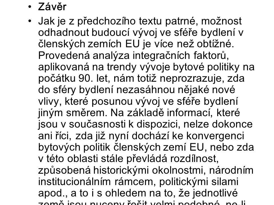 Závěr Jak je z předchozího textu patrné, možnost odhadnout budoucí vývoj ve sféře bydlení v členských zemích EU je více než obtížné.