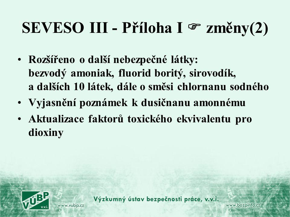 SEVESO III - Příloha I  změny(2) Rozšířeno o další nebezpečné látky: bezvodý amoniak, fluorid boritý, sirovodík, a dalších 10 látek, dále o směsi chl