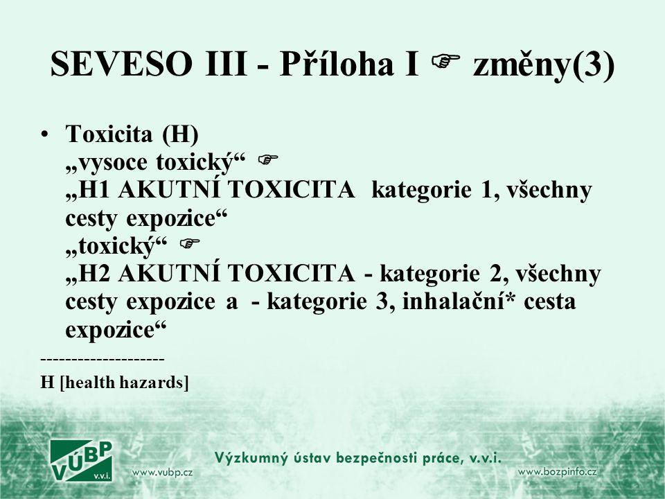 """SEVESO III - Příloha I  změny(3) Toxicita (H) """"vysoce toxický""""  """"H1 AKUTNÍ TOXICITA kategorie 1, všechny cesty expozice"""" """"toxický""""  """"H2 AKUTNÍ TOXI"""