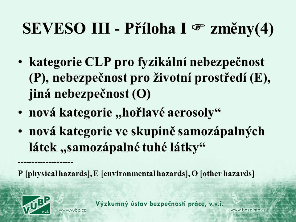 SEVESO III - Příloha I  změny(4) kategorie CLP pro fyzikální nebezpečnost (P), nebezpečnost pro životní prostředí (E), jiná nebezpečnost (O) nová kat