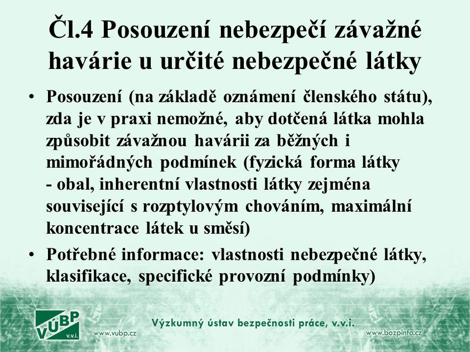 Čl.4 Posouzení nebezpečí závažné havárie u určité nebezpečné látky Posouzení (na základě oznámení členského státu), zda je v praxi nemožné, aby dotčen