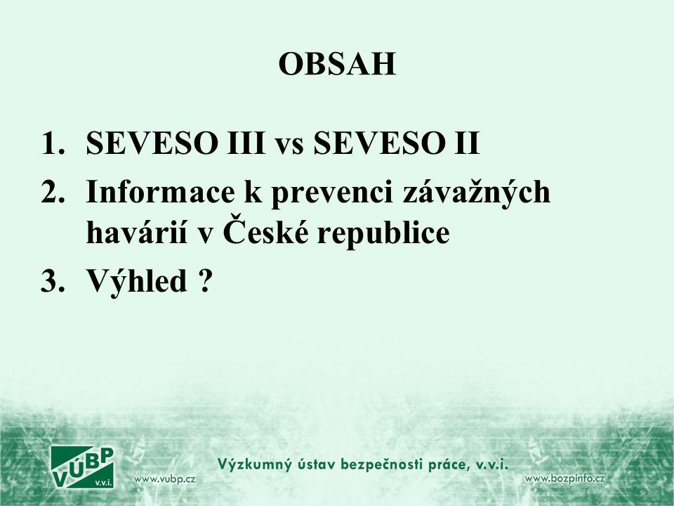 OBSAH 1.SEVESO III vs SEVESO II 2.Informace k prevenci závažných havárií v České republice 3.Výhled ?