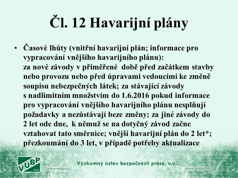 Čl. 12 Havarijní plány Časové lhůty (vnitřní havarijní plán; informace pro vypracování vnějšího havarijního plánu): za nové závody v přiměřené době př