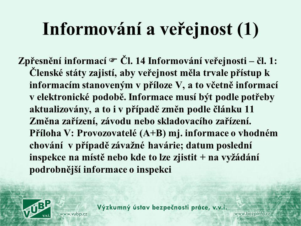Informování a veřejnost (1) Zpřesnění informací  Čl. 14 Informování veřejnosti – čl. 1: Členské státy zajistí, aby veřejnost měla trvale přístup k in