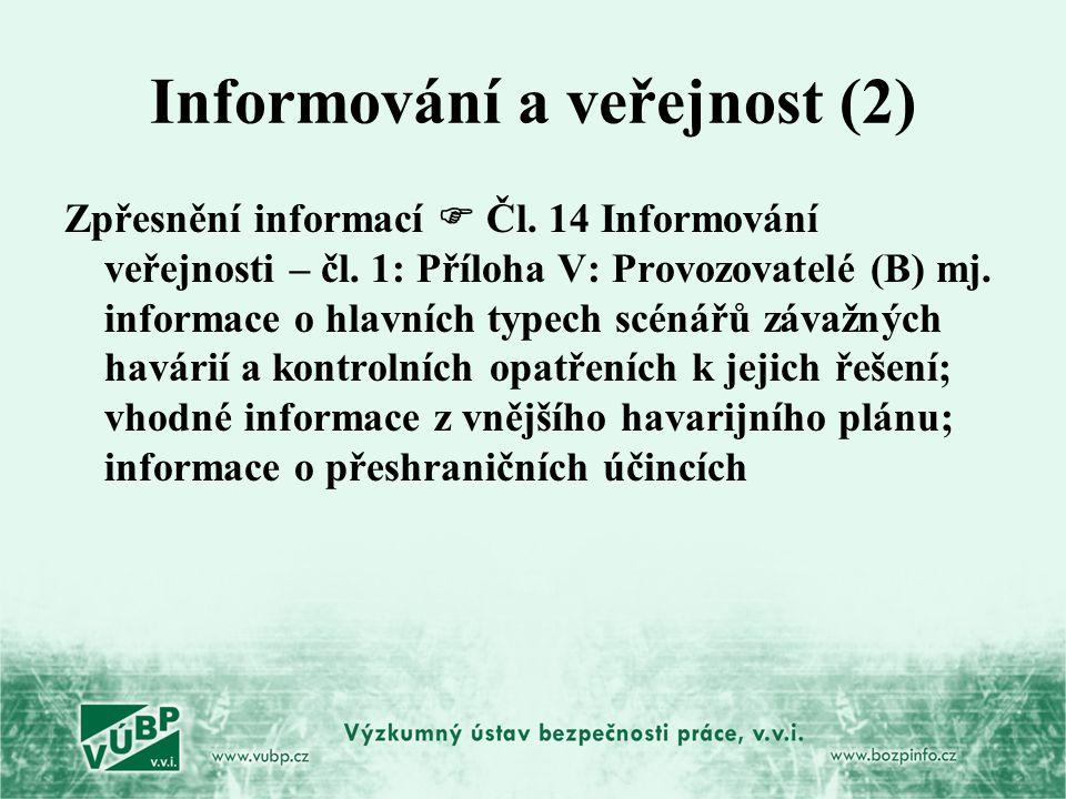 Informování a veřejnost (2) Zpřesnění informací  Čl. 14 Informování veřejnosti – čl. 1: Příloha V: Provozovatelé (B) mj. informace o hlavních typech