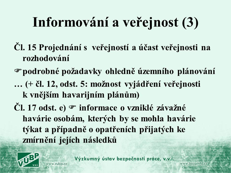 Informování a veřejnost (3) Čl. 15 Projednání s veřejností a účast veřejnosti na rozhodování  podrobné požadavky ohledně územního plánování … (+ čl.