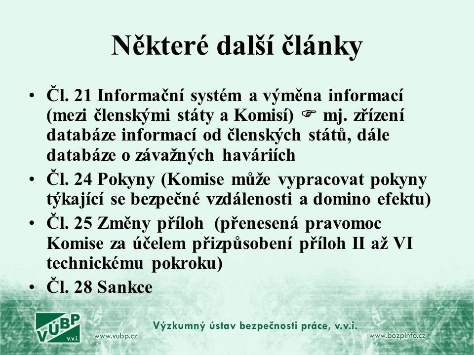 Některé další články Čl. 21 Informační systém a výměna informací (mezi členskými státy a Komisí)  mj. zřízení databáze informací od členských států,
