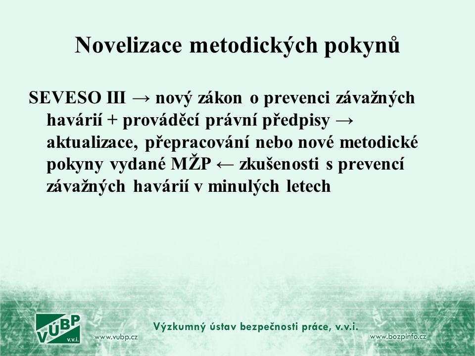 Novelizace metodických pokynů SEVESO III → nový zákon o prevenci závažných havárií + prováděcí právní předpisy → aktualizace, přepracování nebo nové m